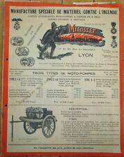 Firefighting 1920s French 'Mieusset' Fire Truck/Engine/Pump Brochure - Fireman
