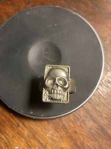 Vintage/ Gothic Silver Skull Mens Ring No Markings Visible Size 9-10