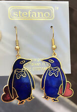 New Lovely Blue Penguins W/ Red Heart Enamel Earrings By Stefno Hypoallergenic