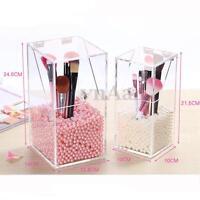 Clear Acrylic Makeup Case Brush Cosmetic Organizer Storage Box Holder Dustproof