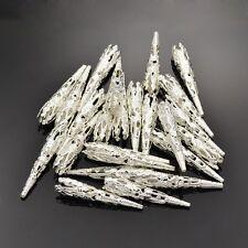 15 Stück Perlenkappen 41x8mm XL Kappen Kegel Perlen Silber Perlkappen - 1149