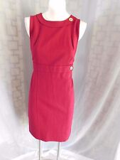 Talbots Solid Burgundy Red Stretch Ponte Knit Sleeveless Sheath Pencil Dress 12P