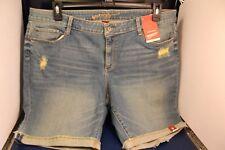 NWT Arizona Women's Bermuda Jean Shorts Med Wash Distressed Sz 19 #2 ad