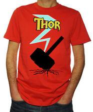 Thor Hammer Lightning Superhero Avengers Comic Book Hero Movie Red T Shirt
