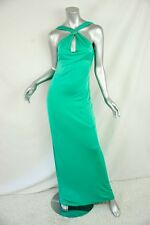 VERSUS VERSACE Long Jeweled HALTER Open-Back Maxi Gown Evening Dress 42 NEW