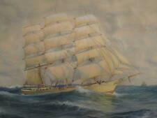 ANTIQUE AMERICAN GEORGE HOWELL GAY HUGE SHIP PAINTING NY ATLANTIC OCEAN SCHOONER