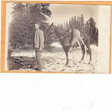 Real Photo Postcard RPPC Hunter Deer on Horse Hunting Pryor Mountains Silesia MT