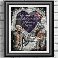 ART PRINT ON ORIGINAL ANTIQUE BOOK PAGE Goth victorian valentine love Dictionary