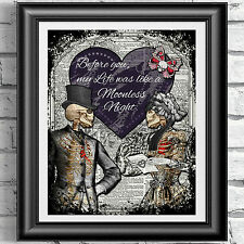 ART PRINT ON ORIGINAL ANTIQUE BOOK PAGE Goth victorian valentine love Dictionary
