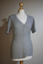 Kangol Short Sleeve Cardigan Ladies UK 12 Grey Marl Cable Knit BNWT RRP £42.99