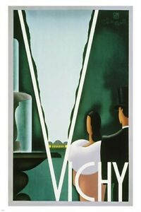 MODERN ART STYLE vichy vintage TRAVEL POSTER collectors sophisticated 24X36