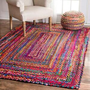 Handmade Multi Color Reversible Bohemian Braided Rug 5x8 Feet Rectangle Rug