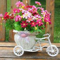 Handgemachte Rattan Blume Tricycle Fahrradkorb Blumenvase Speicher-WeißHochzeits