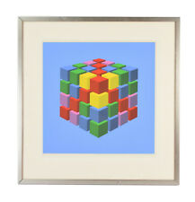 "Vintage Modernist Geometric Op Art Serigraph ""Colored Cube"" by Marko Spalatin"