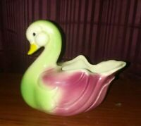 Vintage Shawnee Pottery Unmarked Swan Planter Green  ADORABLE Hull? Cute duck