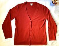 Odeon sweater Cardigan Long Sleeve Red Women's Size XL 100% Cotton EUC