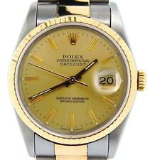 Mens Rolex 2Tone 18K Yellow Gold Stainless Steel Datejust Oyster Champagne 16233