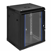 "18U Wallmount Data Cabinet Enclosure 19"" Server Network Rack Locking Glass Door"