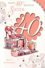 Sister 40th Birthday Card - Age 40 Shoes Cupcake