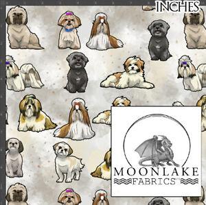 Shih Tzu watercolor dog, fabric, 100% Quality Cotton Poplin Fabric *Exclusive*