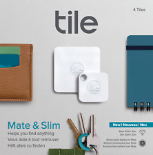 Tile Bluetooth Tracker : Replaceable battery : Combo (Slim & Mate) - 4 Pack