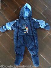 Infant Blue Winter Snowsuit Bunting Bodysuit Hood Detachable Mittens 6m - 9m