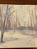 Vintage Oil Painting Luminist Wood Mystical  Hampshire New England Listed Artist