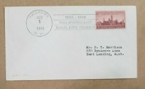 """COVER 1946  w/Slogan cance""""50th ANNIVERSARY RURAL FREE DELIVERY"""" HALLTOWN, WV"""