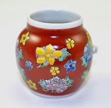 Vintage Porcelain Handmade Hand paint Bird feeder cage Flower Floral Brown Color