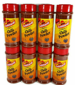 NEW Gebhardt CHILI POWDER 3 oz Lot of 8 Gebhardt's Mexican Cooking Spice San TX