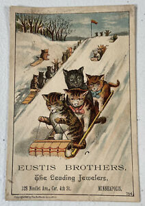Antique Victorian Trade Card Eustis Brothers Jewelers Minneapolis Minnesota Rare