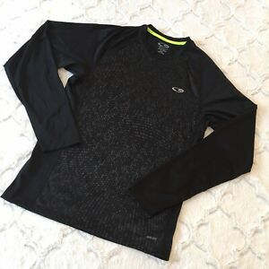 CHAMPION C9 BLACK & GRAY Unisex PULLOVER Duo Dry LONG Sleeve Shirt SZ S/P NWOT