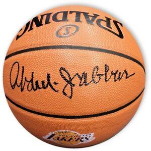 Kareem Abdul Jabbar Hand Signed Laker Logo Basketball Indoor/Outdoor Ball + PSA