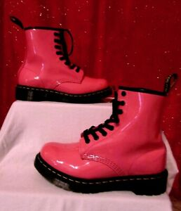 DR. MARTENS DELANEY AIR WAIR 1460 SZ 6 PINK PATENT LEATHER 8 EYELET COMBAT BOOTS