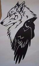 Wall Sticker custom Vinyl indoor decal window laptop removable wolf Raven Crow