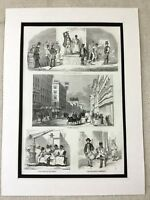 1853 Antique Print American Slave Trade Auction Slavery Richmond Virginia USA