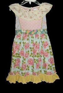 VGUC Matilda Jane Girls Good Hart Pink & Blue Floral Ruffle Trellis Dress Size 6