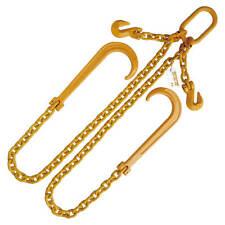 """1/2"""" Gr. 80 Adjustable V Bridle 15"""" J Hook Tow Wrecker Chain 4'"""