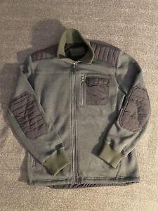 Marmot Men's Heavyweight Fleece Full Zip Jacket Gray Elbow Patches Size Large