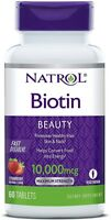Natrol Biotin 10,000 mcg Fast Dissolve Tablets, Strawberry 60 ea (Pack of 2)