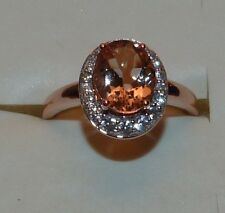 HUGE PEACHY 10KT RG 2.50 CTW DESIGNER COR-DE-ROSA MORGANITE & ZIRCON RING SIZE 9