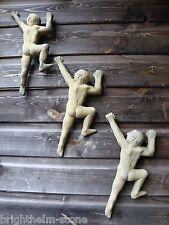 Naked Climbing man Rock climber stone wall plaque set of 3 original design 30cmH