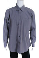 Robert Talbott Mens Button Down Plaid Collared Shirt Blue Brown Cotton Size L