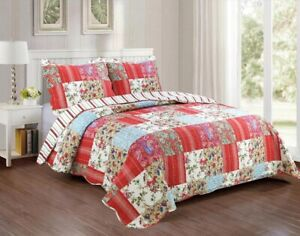 KARO FLOWERS PATCHWORK RED REVERSIBLE BEDSPREAD QUILTED SET 3 PCS CAL KING SIZE