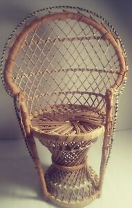 "Vintage Wicker Peacock Fan Back Rattan Chair 15"" Doll / Plant Stand Boho Decor"