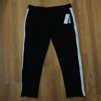 UGG Lizy Track Pants Womens Size XL Black Merino Wool White Stripe NEW $148