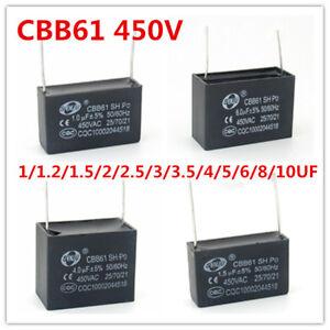 CBB61 450V 1/1.5/2/2.5/3/4.5/5/6/7/8/10/12 UF AC Motor Start Capacitor