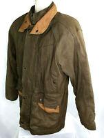 Green Fields Leather Barn Coat, Mens S, Brown, EUC