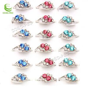 wholesale lots 50pcs CZ Rhinestone Silver plated Woman wedding rings jewelry