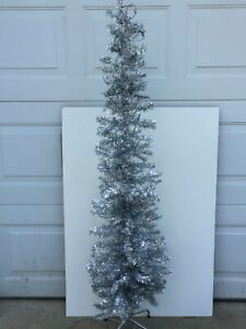 Silver Tinsel Christmas Tree with Pre Lit White Lights Skinny Space Saver 5 ft
